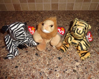 RARE!  Retired Ty Beanie Babies Ziggy the Zebra, Roary the Lion and Stripes the Tiger MWMT
