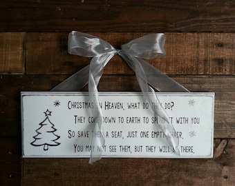 Christmas in Heaven wood sign