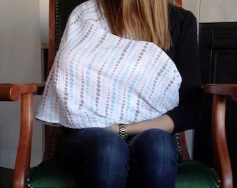 Gauze scarf, Infinity,Breathable Breastfeeding Cover, Soft, Handmade, Dots