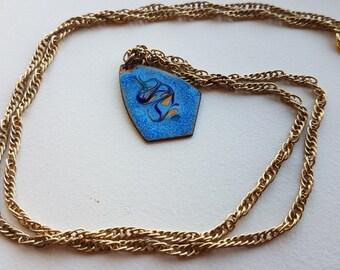 Copper Enamel Pendant Charm Necklace