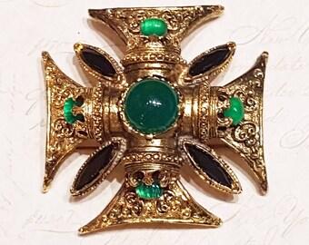 Vintage Maltese Cross Crown Brooch Gold Green Black Stone