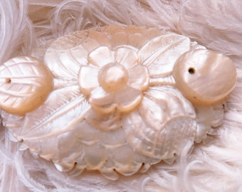 Vintage Edwardian Carved Mother Pearl Shell Brooch Pin
