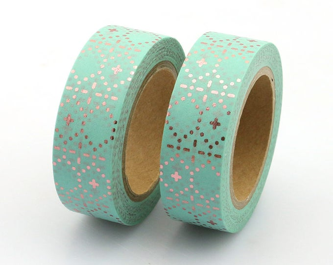 Washi Tape - Foil Washi Tape - Rose Gold Mint Dotted Foil Washi Tape - Paper Tape - Planner Washi Tape - Washi - Decorative Tape - Deco Tape