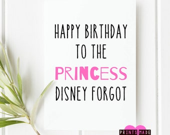 Princess birthday card | daughter card | sister card | friend card | happy birthday | A5 | forgotten princess