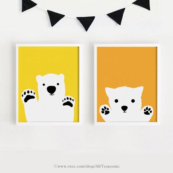 Printable Nursery Art Set Poster Baby room Wall art Yellow and