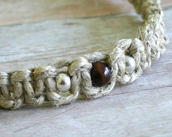 Surfer Phatty Thick Hemp Necklace With Metal and Wood Beads Choker