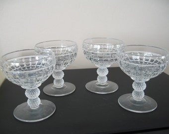 Vintage Pressed Glass Ice Cream Cups, Set of Four