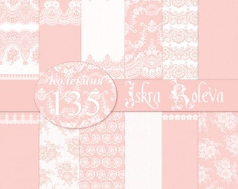 Lace Digital Paper Pack Instant Download Wedding Flowers Peach Original Romantic