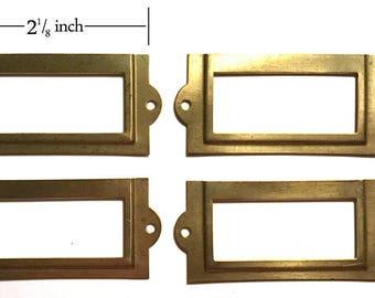 Brass Drawer Label Holder, Set of Four