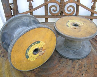 Set of 2 Old Industrial Factory Salvage Wood and Metal Empty Wire Spool Reels