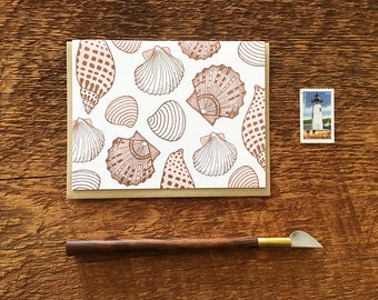 Seashells and Clams, Letterpress Note Card, Blank Inside