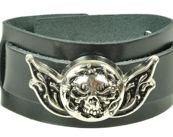 "Leather bracelet ""skull barbwire"""