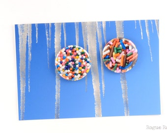 "Sprinkes Magnets - Candy Pinback Buttons - Original Images - Sprinkles Jimmies - 1.5"" Sweet Tooth Buttons or Magnets"