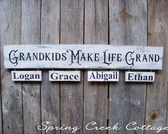 Rustic, Wood Signs, Grandkids Make Life Grand, Signs, Personalized, Grandchildren,  Rustic Signs, Handpainted Signs, Baby Shower, Kids