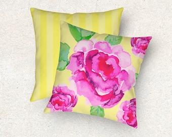 Peony throw pillow, Floral throw pillow. Peony cushion, Peony flower pillow, Apricot pillow. Pink pillow, Blue pillow, Victorian pillow