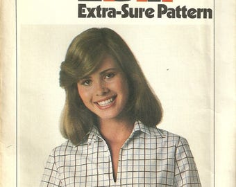 Simplicity 8183 Misses Vintage 70s Boho Pullover Blouson Top Shirt Sewing Pattern Size 8 - 10 - 12