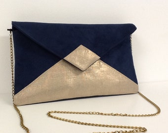 Evening bag in blue navy suedette and iridescent golden linen, WITH or WITHOUT  bronze chain shoulder strap