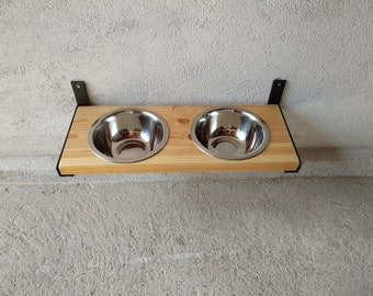 Wall Mount Dog Feeder, Dog Furniture, Raise Dog Feeder, Industrial Chic, Dog Bowl Stand, Dog Feeding, Elevated Dog Bowl