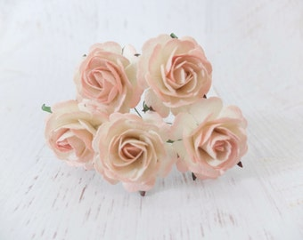 5 35mm cream blush pink tip paper roses - paper flowers - mulberry paper flowers with wire stems (Style 1)