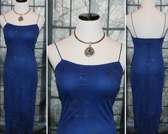 Vintage 90's Blue Floral Sparkle Dress By Rampage Evening Dress,Cocktail Dress,Dinner Dress,Summer Dress,Boho Dress,Retro Dress,Mod Dress