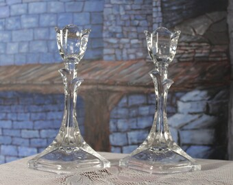 Clear Tulip on a stem Glass Pair Candle Holders Footed Pedestal Base, Wedding Holiday Table