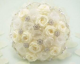 Snow Frost, Wedding Bouquet, Bridal Bouquet - Winter Wonderland Wedding, Snow Bouquet, Origami Bouquet, Winter Bouquet