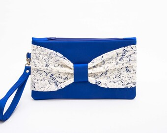CLEARANCE SALE -Royal blue  evening clutch ,last one , Bow clutch ,wristelt clutch ,  lace clutch,bridesmaid gift