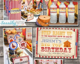 Vintage Circus Party Collection - INSTANT DOWNLOAD - Editable & Printable Kids Birthday Party Decorations by Sassaby Parties
