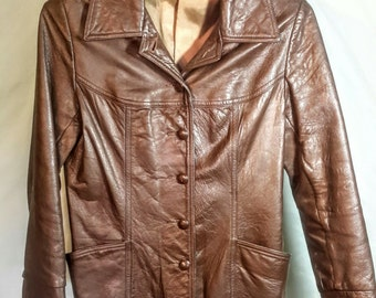 1970's cocoa colored leather travel jacket, size small