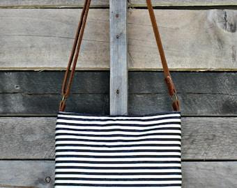 Crossbody Bag, Denim and Cream Stripe, Genuine Leather, Everyday Purse, Adjustable Strap