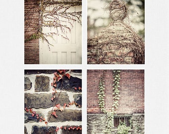 Rustic Decor, Rustic Prints Set, Country Brick and Ivy Pictures, Kitchen Decor, Rustic Farmhouse Decor, Rustic Home Decor, Set of 4 Prints.