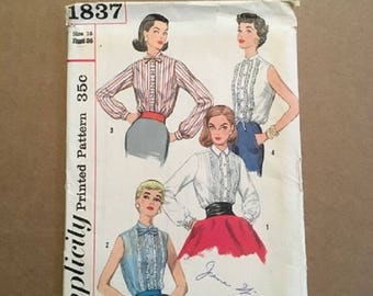 Vintage Simplicity Pattern 1837: Junior and Misses Blouses Size 16 Bust 36