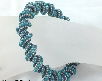 Teal Blue Cellini Spiral Bangle Bracelet...EBW Team