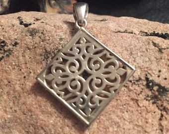Silver Design Diamond Pendant/ BlueSpiralCo