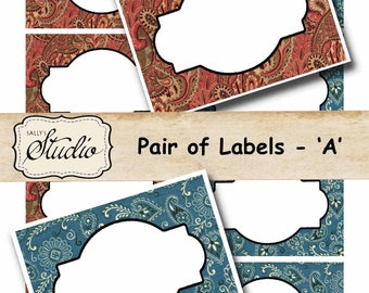 Country Western labels, Jar Labels, Food Labels, Party Labels, Printable Labels, Digital Frames, Place Cards, Birthday Party, name tags