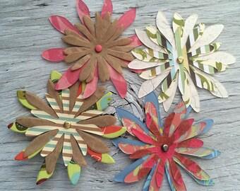 Paper flower embellishments set of 4 triple layer 3 inch diameter