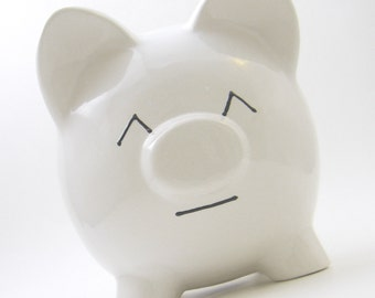 Happy Emoticon Piggy Bank  - The Original Emoti-Pig - Personalized Teen Gift Bank - Texting Piggy Bank - with hole or NO hole in bottom