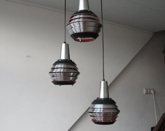 3 Light Lakro 1960's Space Age Pendent Aluminium