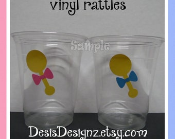 24 Gender reveal Baby Rattles vinyl decals 12 oz. 16 oz or 20 oz. clear party cups Baby shower decoration girl boy sprinkle party