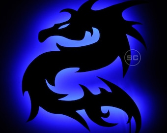 Tribal Dragon Lighted Sign - Tattoo Style Tribal Dragon Wall Lamp and Night Light - Tribal Decal Style
