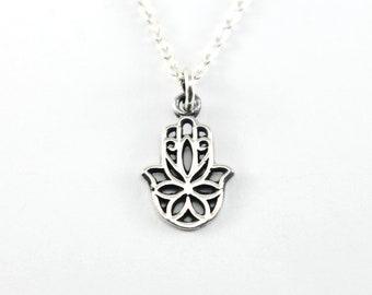 Sterling Silver Hamsa Necklace, Feminine Dainty Silver Necklace, Flower Hamsa Necklace, Sterling Silver Necklace, Silver Hamsa Hand Necklace