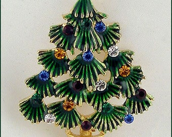 Eisenberg Ice Christmas Tree Pin,Green Boughs Christmas Tree Pin,Eisenberg Christmas Tree Pin with Multi Color Rhinestones (Inv. #J1010)