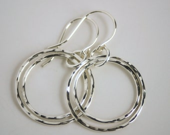 Sterling Silver Double Hoop Earrings - Hammered Light Weight and Nickel Free Dangles