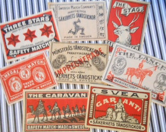 8 Vintage Swedish Matchbox Labels NOS 1900s