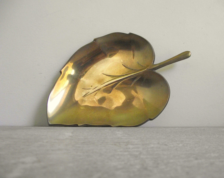 Solid Brass Leaf Dish Brass Leaf Trinket Dish Brass Coin