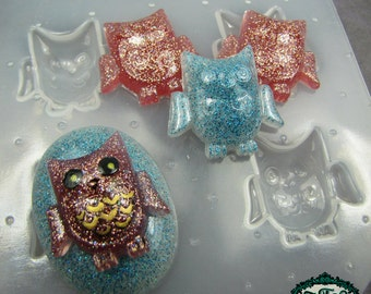 Resin Mold 4pc OWL Handmade Flexible Plastic Resin Molds