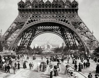 Vintage Photo Of The Eiffel Tower, Paris.  Black & White Or Sepia Reproduction Photograph.