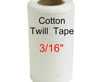"100 YARDS - 3/16"" - Lightweight Cotton Twill Ribbon Tape, 3/16 inch - WHITE"