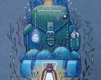 Backpack Original Art Gift Card, Friendship Card
