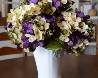 Hydrangea | Hand Blended Hydrangea Stem | Hydrangea | Artificial Purple Hydrangea | Hydrangea Stems for Vase | Centerpiece | Faux Hydrangeas